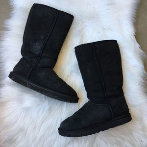UGG Australia Black High Sheepskin Boots Size 7